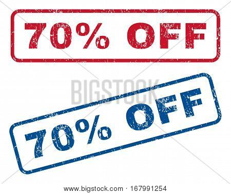 70 Percent Off text rubber seal stamp watermarks. Vector style is blue and red ink tag inside rounded rectangular banner. Grunge design and scratched texture. Blue and red emblems.