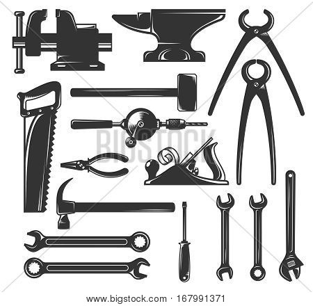 A set of silhouettes common workers hand tools - hammer wrench screwdriver and others. Vector illustration.