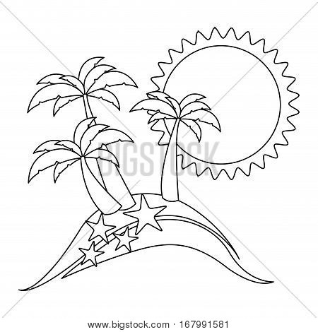 monochrome contour with beach with starfish vector illustration