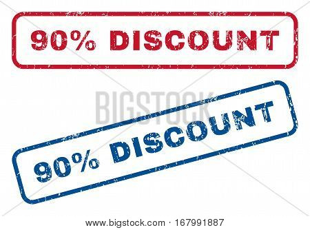 90 Percent Discount text rubber seal stamp watermarks. Vector style is blue and red ink caption inside rounded rectangular shape. Grunge design and scratched texture. Blue and red stickers.