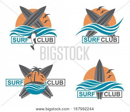 Collection of of surfing emblems with sun and sea wave. Vector illustration
