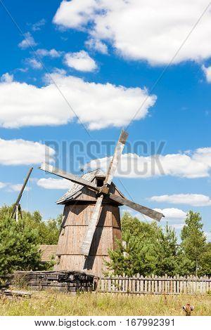 wooden windmill, Dubicze Cerkiewne, Podlaskie Voivodeship, Poland