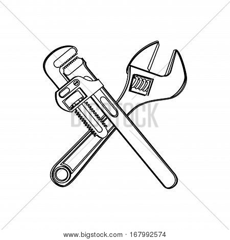 monochrome contour with crossed wrenches vector illustration