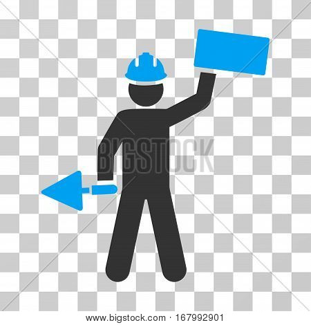 Builder With Brick icon. Vector illustration style is flat iconic bicolor symbol, blue and gray colors, transparent background. Designed for web and software interfaces.