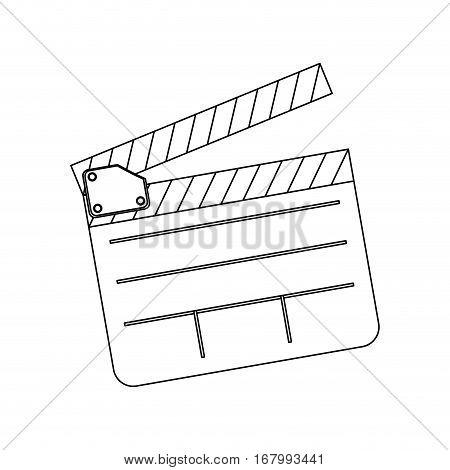 monochrome contour with clapperboard film vector illustration