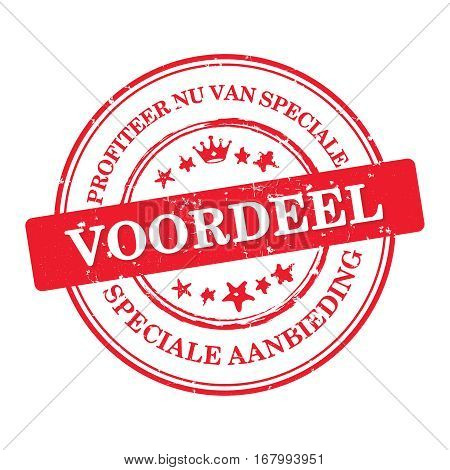Profit now for special discounts. We offer special offer (Profiteer nu van speciale voordeel. Speciale aanbieding) - Dutch business stamp / label / sticker for retail industry . Print colors used