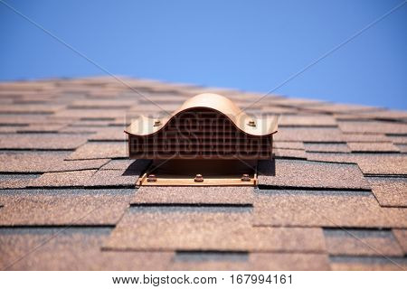 Shingles on the roof with ventilation