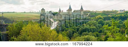 Panoramic view on the castle in Kamianets-Podilskyi in summer. Ukraine