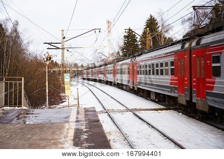 Moscow Russia - November 27 2016: Electric train on the far station of Moscow region in winter