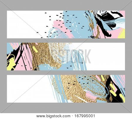 Set of artistic creative three cards with hand drawn shapes and gold textures elements on the white background. Modern unusual freehand abstraction.