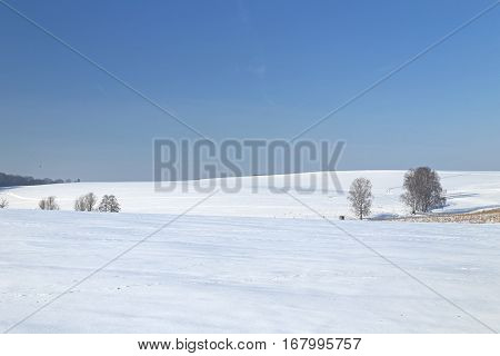 Winter landscape in the Ore Mountains Saxony Germany