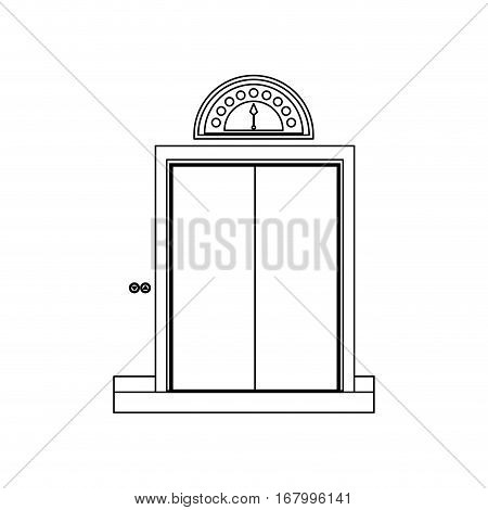 monochrome contour with elevator closed door vector illustration