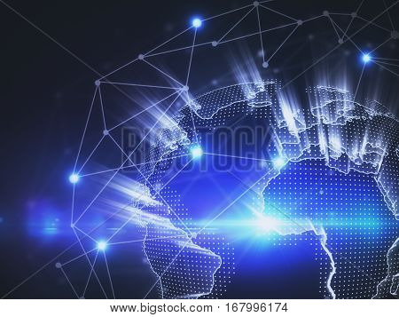 Terrestrial globe with connections. Global business concept