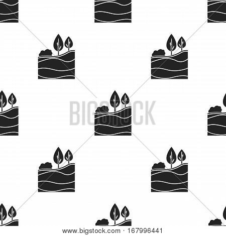 Layers of the earth icon in black style isolated on white background. Mine pattern vector illustration.