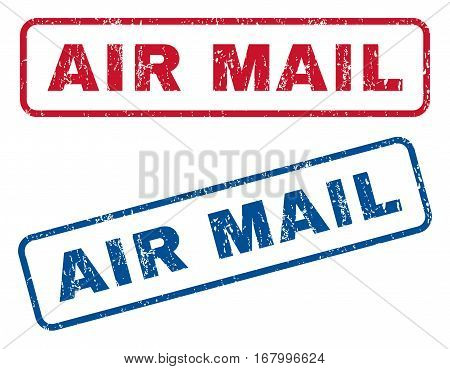 Air Mail text rubber seal stamp watermarks. Vector style is blue and red ink tag inside rounded rectangular banner. Grunge design and scratched texture. Blue and red emblems.