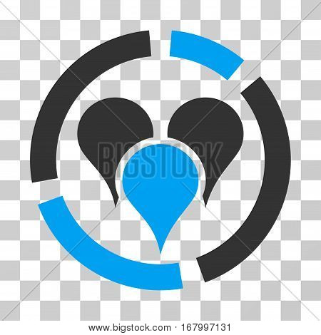 Geo Targeting Diagram icon. Vector illustration style is flat iconic bicolor symbol, blue and gray colors, transparent background. Designed for web and software interfaces.