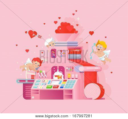 Creative valentine card design cupids workplace. Cupid shoots a heart bow on pink background. Love print with conveyor machine process