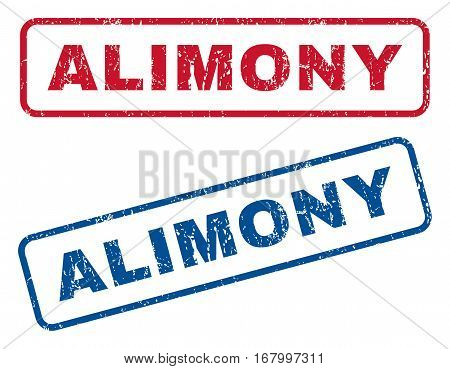 Alimony text rubber seal stamp watermarks. Vector style is blue and red ink caption inside rounded rectangular shape. Grunge design and unclean texture. Blue and red emblems.