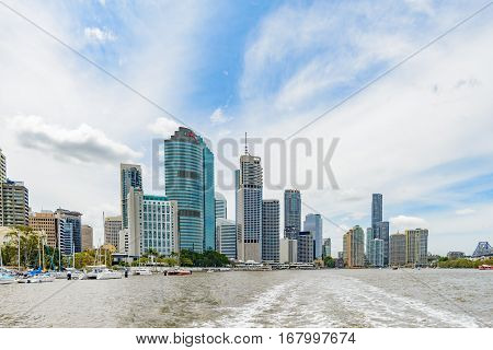 BRISBANE AUSTRALIA - NOVEMBER 19 2016: High-rise commercial buildings at the financial district in Brisbane CBD in daytime.