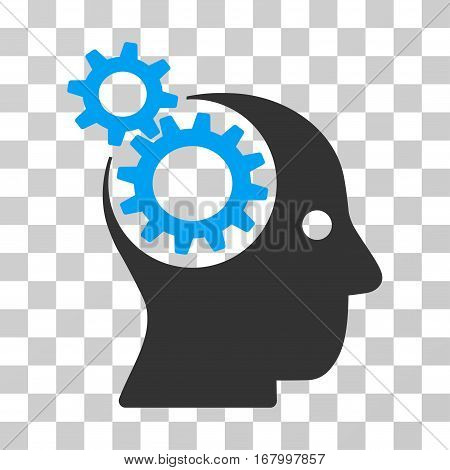Intellect Gears icon. Vector illustration style is flat iconic bicolor symbol, blue and gray colors, transparent background. Designed for web and software interfaces.