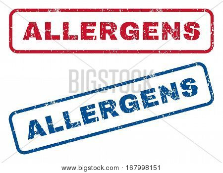 Allergens text rubber seal stamp watermarks. Vector style is blue and red ink tag inside rounded rectangular shape. Grunge design and dirty texture. Blue and red emblems.