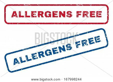 Allergens Free text rubber seal stamp watermarks. Vector style is blue and red ink caption inside rounded rectangular banner. Grunge design and scratched texture. Blue and red stickers.