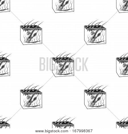 Skin icon in black style isolated on white background. Organs pattern vector illustration.