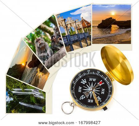 Bali Indonesia travel images (my photos) and compass - architecture and nature concept