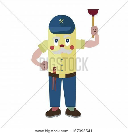 cartoon character experienced plumber with wrench and plunger