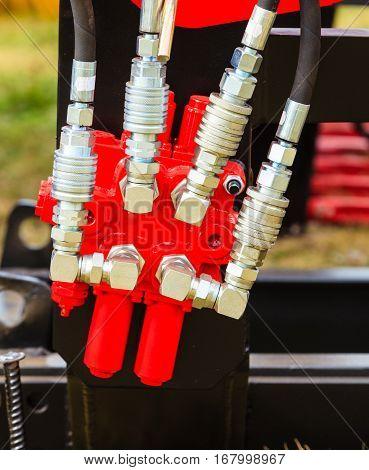 Pneumatic, Hydraulic Machinery Made Of Steel Closeup