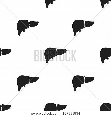 Liver icon in black style isolated on white background. Organs pattern vector illustration.