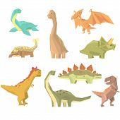 Dinosaurs Of Jurassic Period Set Of Prehistoric Extinct Giant Reptiles Cartoon Realistic Animals. T-Rex, Pterodactyl, Triceratops And Other Dinosaur Species Vector Illustrations. poster
