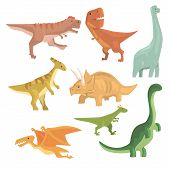 Dinosaurs Of Jurassic Period Collection Of Prehistoric Extinct Giant Reptiles Cartoon Realistic Animals. T-Rex, Pterodactyl, Triceratops And Other Dinosaur Species Vector Illustrations. poster