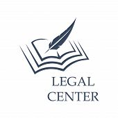 Legal center symbol as feather writing on book. Judgment certificate or police document, crime verdict icon, lawsuit sign or crime punishment badge. Wisdom or prosecutor decision theme, court logo poster