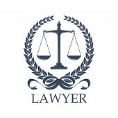 Lawyer sign of scale in laurel wreath. Weigher for justice and arbitrate or Libra. Prosecution and law defense balance, judgement and protection, lawsuit and human rights theme, advocacy or notary, prosecutor or court symbol poster