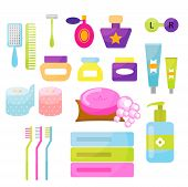 Personal hygiene cartoon vector items. Colorful toiletry objects for bath use. poster