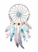 Isolated Watercolor decoration bohemian dreamcatcher. Boho feathers decoration. Native dream chic design. Mystery etnic tribal print. American culture design poster