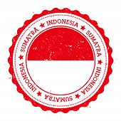 Sumatra flag badge. Vintage travel stamp with circular text stars and island flag inside it. Vector illustration. poster