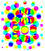 Bright Color Halftone Abstract design. Dots, Circles, Beach balls, Bubbles... poster