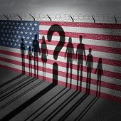 United States refugee question and immigration government policy as extreme vetting for banned newcomers in America as the cast shadow of international migrants on a wall with a US flag with 3D illustration elements. poster