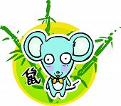 Cartoon Chinese Zodiac - Mouse and bamboo background poster