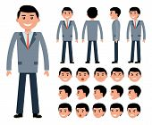 Male businessman character constructor for different poses. Set of various men's faces and emotions. Cartoon vector flat-style illustration poster