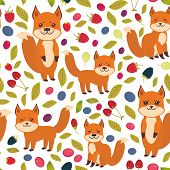 seamless pattern cute kawaii fox with Cherry Strawberry Raspberry Blackberry Blueberry Cranberry Cowberry Goji Grapes isolated on white background. Vector illustration poster