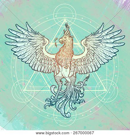 Mythycal Bird Phoenix. Davids Star On A Background. Alchemy Symbol. Tattoo, Textile, Poster Design.