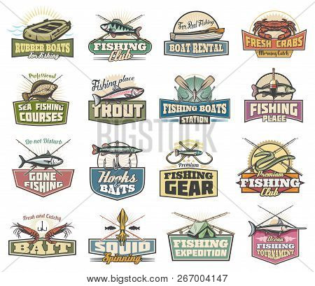 Fishing Sport Club And Fishery Vector Icons. Rubber Boat And Rod, Crab And Trout, Hook And Paddle. B