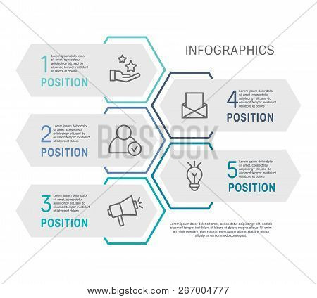 Flat Line Vector Illustration. Infographic Template With Five Elements, Hexagons, Rectangle. Timelin