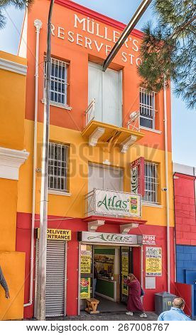 Cape Town, South Africa, August 17, 2018: An Historic, Old Shop In Wale Street In The Bo-kaap In Cap
