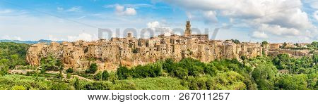 Panoramic View At The Pitigliano Old Town - Tuscany, Italy