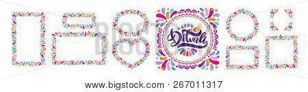 Bright Festive Vector Text Diwali, Diya Oil Lamp, Flame. Set Of Decorative Ornament Rangoli Frames,