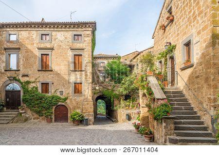 Old Stone Buildings In Civita Di Bagnoregio, Italy
